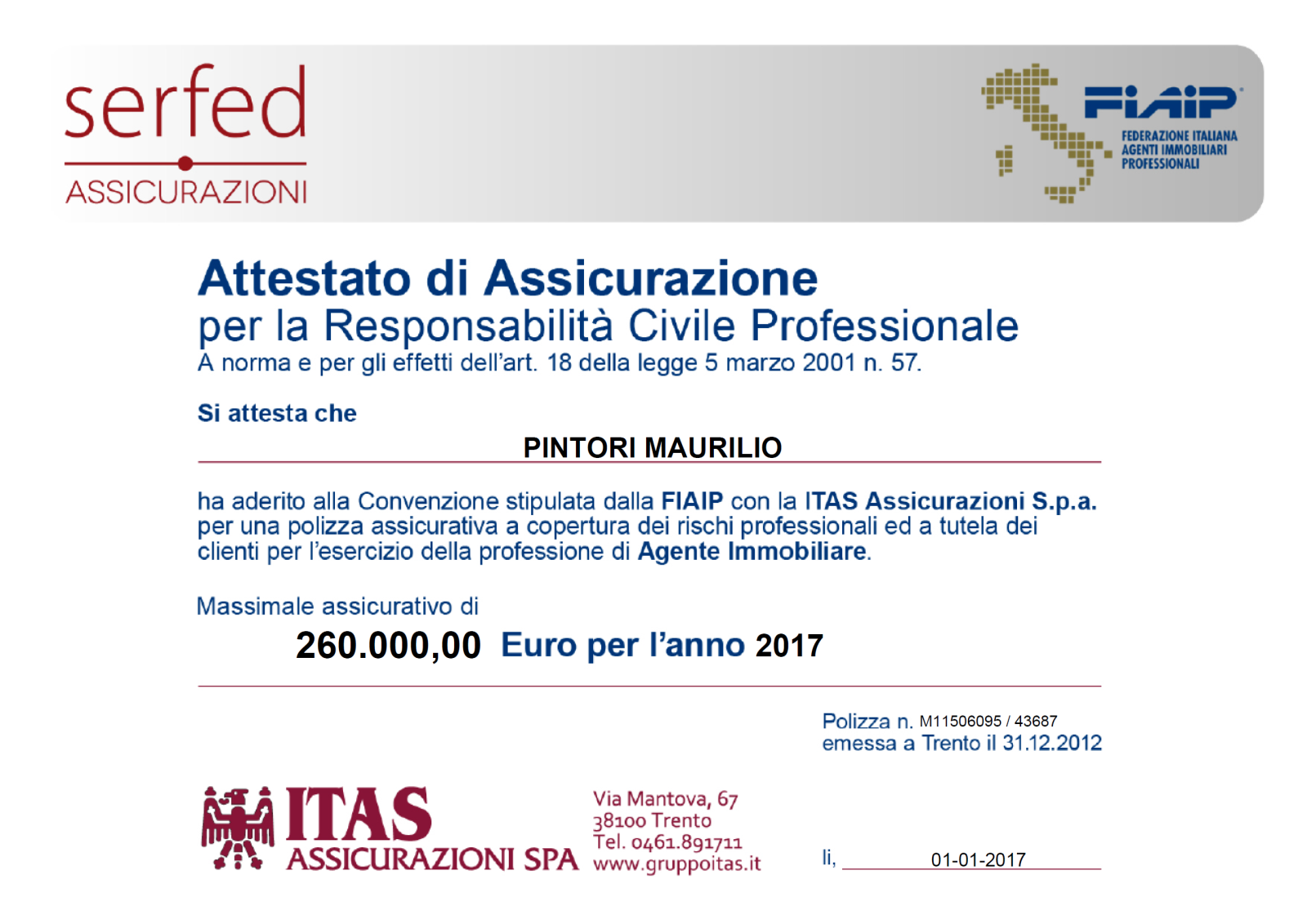 Agenti Immobiliari Trento certificato 2017 - montecatinicasa maurilio pintori agente