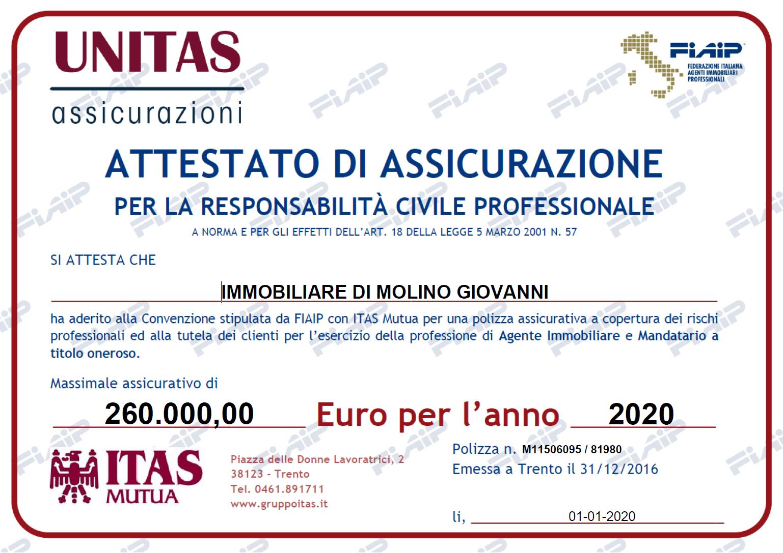 Agenti Immobiliari Trento assicurazione professionale - immobiliare di molino giovanni